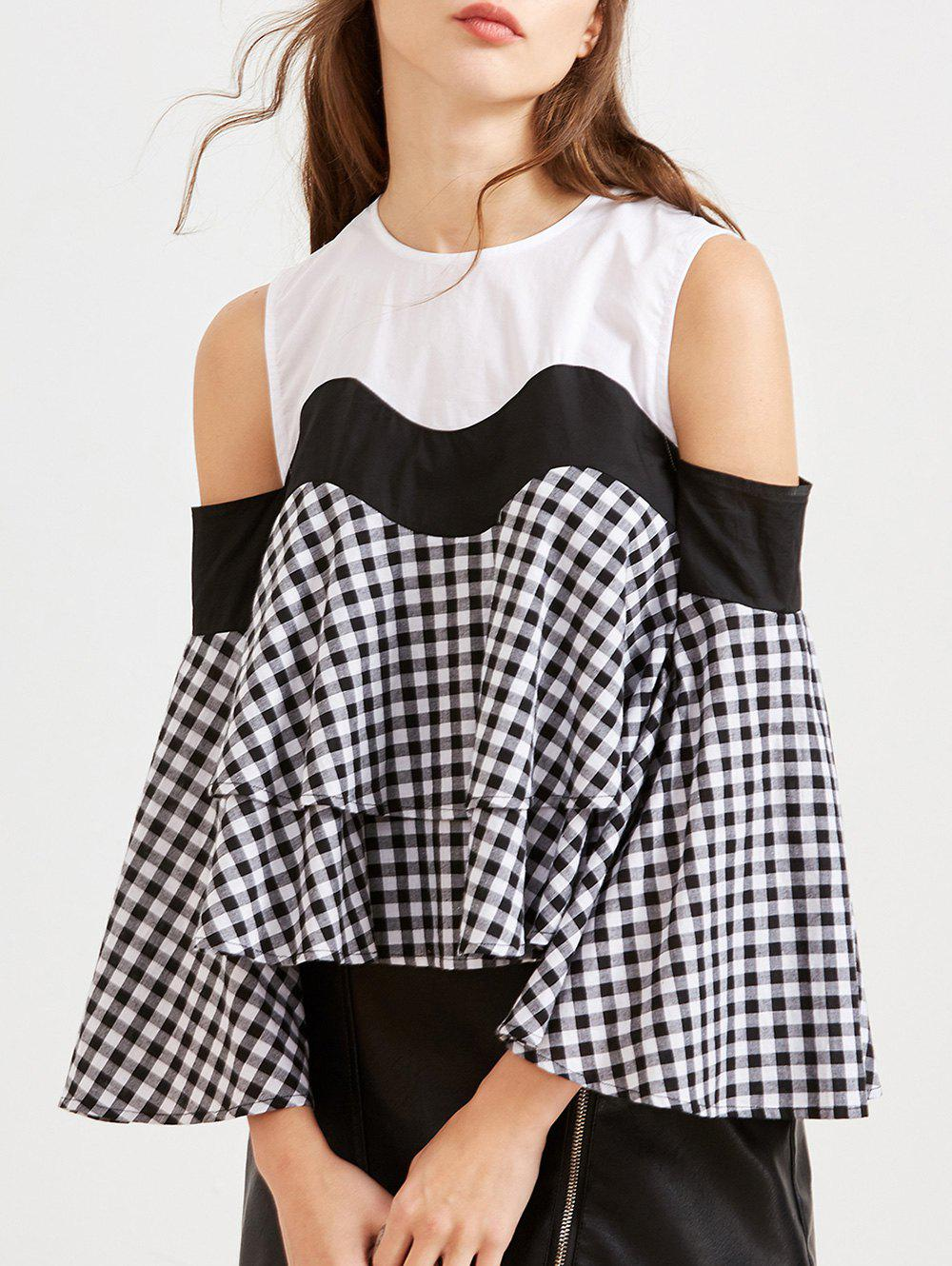 Affordable Cold Shoulder Flounce Plaid Insert Tee
