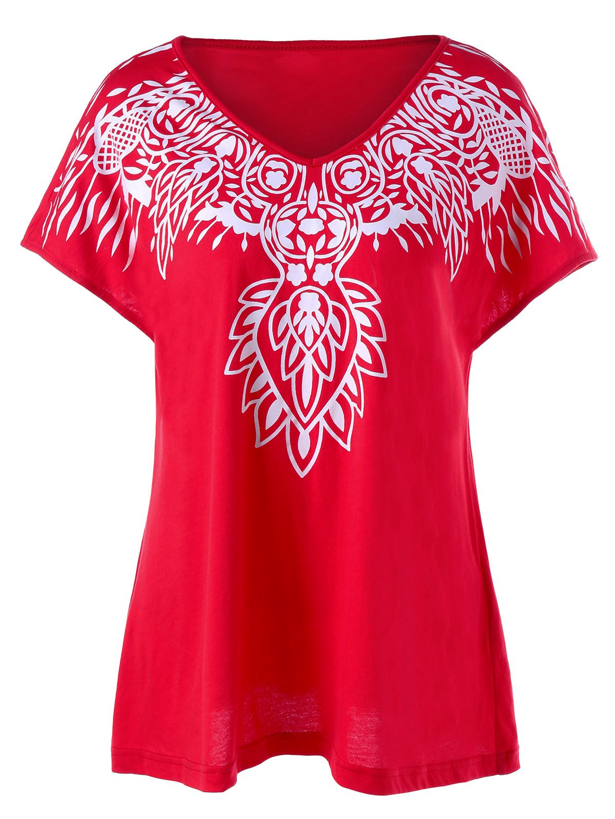 Red 4xl Graphic V Neck Plus Size T Shirt
