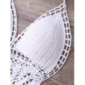 Halter Hollow Out Knitted Crochet Monokini One-Piece Swimwear -