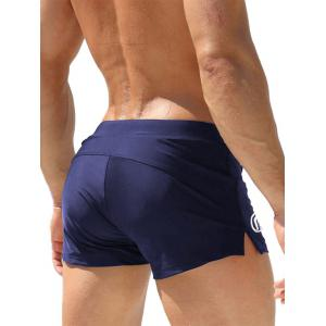 Stretchy Lace Up Zip Up Pocket Swimming Trunks - ROYAL L