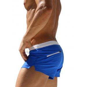 Printed Lace Up Back Zipper Pocket Swimming Trunks - BLUE 2XL