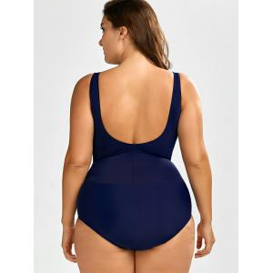 Printed Ruched One-Piece Swimwear - LAKE BLUE 5XL