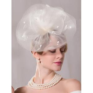 Mesh Floral Feather Hairpin Cocktail Hat
