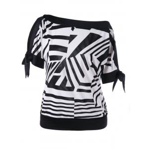 Tie Sleeve Skew Collar Tee - White And Black - Xl