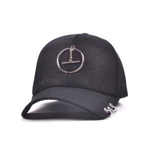 Alloy Circle Pendant Embellished Baseball Cap