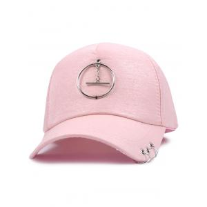 Alloy Circle Pendant Embellished Baseball Cap - Pink