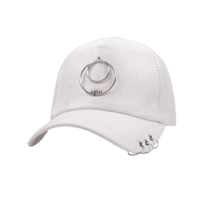 Metallic Letters Circle Ring Baseball Hat - WHITE