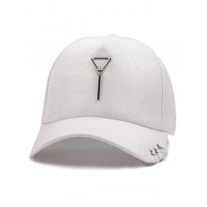 Metal Triangle Pendant Circle Embellished Baseball Hat - White