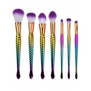 7 Pcs Multifunction Mermaid Shape Makeup Brush Kit - Multi Color - M