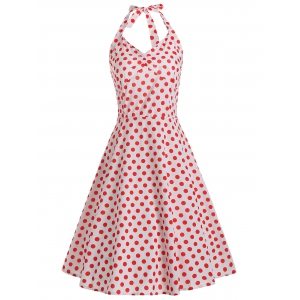 Lace Up Polka Dot Halter 50s Dress