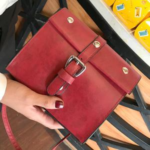 Faux Leather Buckle Strap Crossbody Bag -