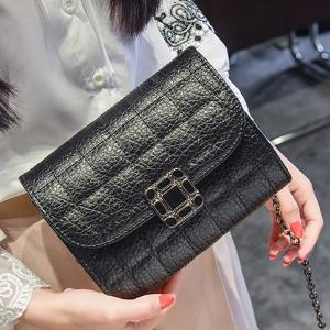 Chains Quilted Cross Body Bag - BLACK