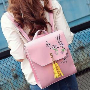 Flower Embroidery Tassel Backpack -