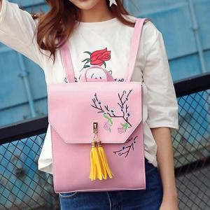 Flower Embroidery Tassel Backpack - PINK