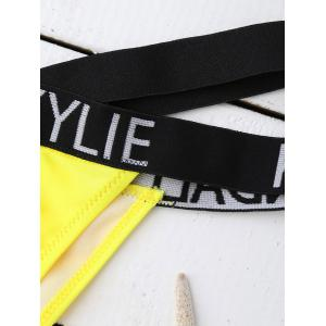 Sporty Letter Graphic Bandage Bikini - YELLOW/BLACK S
