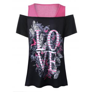 Love Graphic Design Plus Size Cold Shoulder T-Shirt - Black - 5xl
