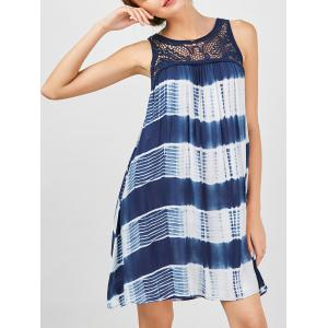 Sleeveless Tie Dye A Line Casual Swing Dress - Blue And White - Xl