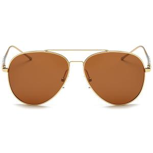 Mirrored Polarized UV Protection Pilot Sunglasses - GOLD FRAME/DRAK BROWN