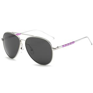 Mirrored Polarized UV Protection Pilot Sunglasses - Silver Frame+grey Lens