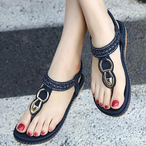 Faux Leather Rhinestones Flat Heel Sandals - PURPLISH BLUE 40