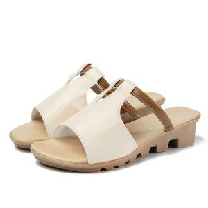Colour Block Faux Leather Slippers - OFF-WHITE 37