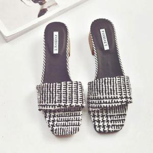 Mid Heel Color Block Slippers - BLACK WHITE 37
