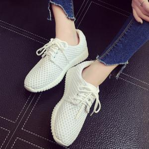 Breathable Mesh Athletic Shoes - WHITE 38