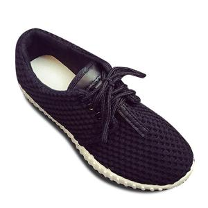 Breathable Mesh Athletic Shoes - Black - 38