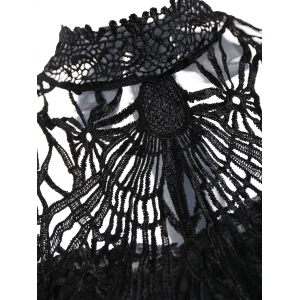 High Neck Lace Back Sleeveless Top - BLACK ONE SIZE