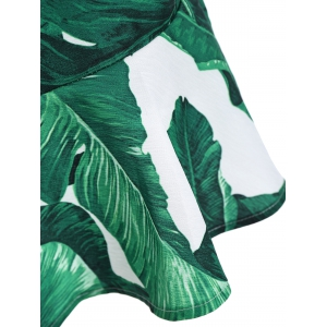 Palm Leaf Print Drop Waist Slip Dress - GREEN M