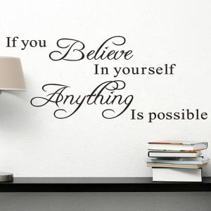 Believe Yourself Quote Wall Sticker For Bedrooms - Black - 60*90cm