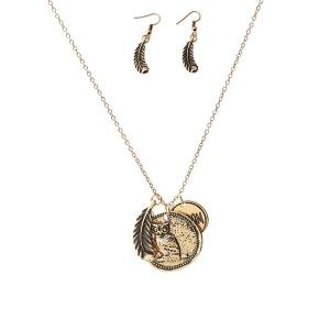 Gypsy Style Leaf Owl Letter Engraved Jewelry Set