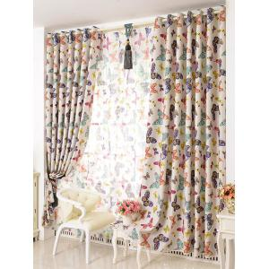 Butterfly Print Window Screens Blackout Curtain(Without Tulle) - COLORMIX W42INCH*L63INCH