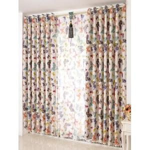 Butterfly Print Window Screens Blackout Curtain(Without Tulle) - Colormix - W54inch*l108inch