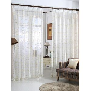Babysbreath Embroider Sheer Tulle Curtain - White - W54inch*l84inch