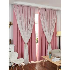 Princess Style Double Layers Curtains For Girl Bedroom - Pink - W42inch*l63inch