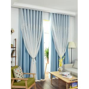 Window Screen 1Pcs 2 Layers Princess Curtain - Ice Blue - W54inch*l108inch