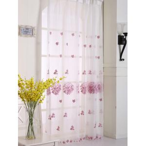Princess Hydrangea Print Sheer Voile Curtain - Pink - W54inch*l108inch