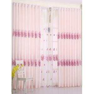1PCS Hydrangea Print Shade Blackout Curtain (Without Tulle) - PINK W54 INCH * L108 INCH
