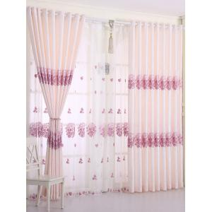 1PCS Hydrangea Print Shade Blackout Curtain (Without Tulle) - Pink - W54inch*l108inch