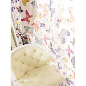 Pastoral Butterfly Sheer Voile Window Curtain - COLORMIX W54 INCH * L95 INCH