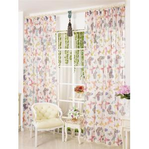 Pastoral Butterfly Sheer Voile Window Curtain - W54inch*l108inch