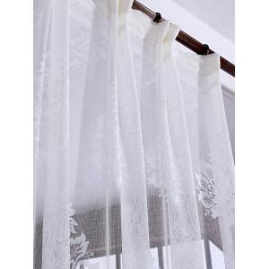 Floral Sheer Tulle Curtain Door Window Balcony Screen - WHITE W54 INCH * L108 INCH
