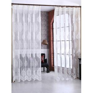 Floral Sheer Tulle Curtain Door Window Balcony Screen - White - W54inch*l108inch