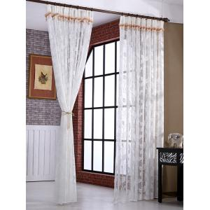 Leaf Rattan Sheer Tulle Curtain Voile Drape -