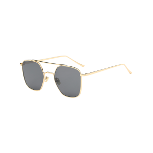 Anti UV Polygonal Metal Crossbar Sunglasses - Gold Frame + Black Lens