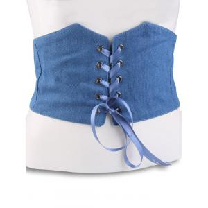 Denim Fabric Corset Belt with Lace Up - Light Blue - 4xl