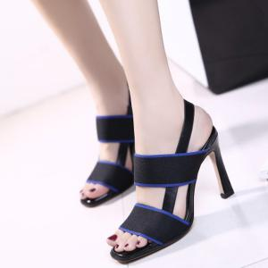 Elastic Band Colour Block Sandals -