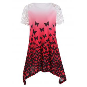 Asymmetric Butterfly Print Tunic Top - Red - L