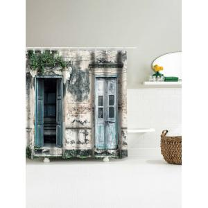 Vintage House Door Print Shower Curtain - COLORMIX W71 INCH * L79 INCH